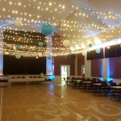 Party lighting at a wedding